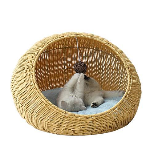 JR Knight Katzenhöhle für Katzen Katzenkorb Katzenbett Tierbett aus Weide Katzenhaus Kuschelhöhle mit Kissen für Katzen und kleine Hunde