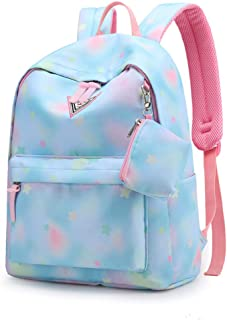 School Bookbags for Girls,Vibola Cute Large-Capacity Lightweight Campus Backpack College Bags Women Daypack Travel Bag (Blue)
