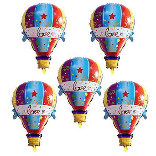 D Dolity 5 x Globo Papel de Plata en Forma Globo Aerostático para Baby Shower Set de Globo