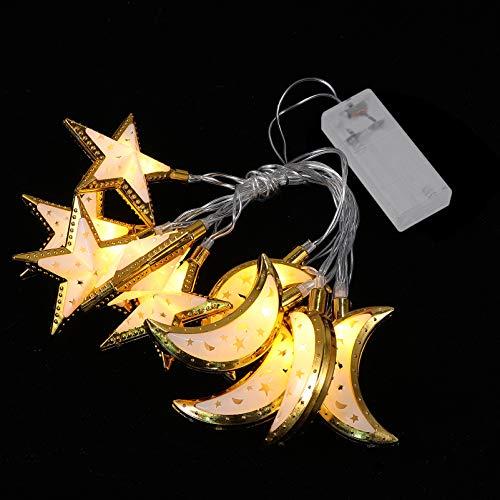 SOLUSTRE Guirnalda de luces con diseño de estrellas y lunas, luz nocturna Ramadán, Eid Mubarak, decoración del hogar, luz sin batería, 1 65 m, 10 luces