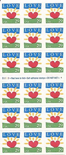 US Stamp - 1994 Love Sunrise - Booklet Pane of 18 Stamps #2813a by USPS