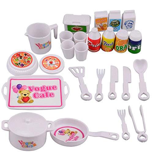 Zeagro Mini-Tasse, Besteck, Teller, Küche, Geschirrzubehör, Spielspielzeug für Kinder, Baby, 25 Stück
