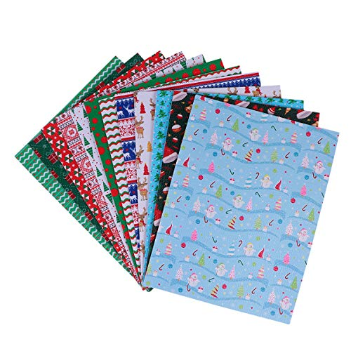 Milisten 12pcs Christmas Faux Leather Sheets Snowman Tree Reindeer Printed Leather Fabric DIY Xmas Crafts Supplies for Earrings Phonecase Hair Accessories