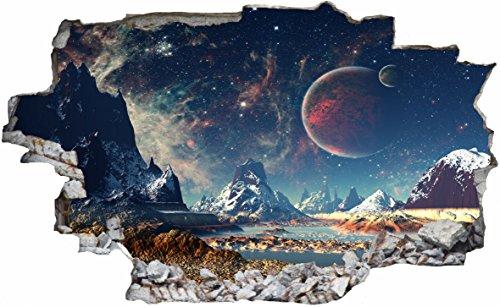 DesFoli Weltraum Erde Space Weltall Galaxy Planeten 3D Look Wandtattoo 70 x 115 cm Wand Durchbruch Wandbild Sticker Aufkleber C230