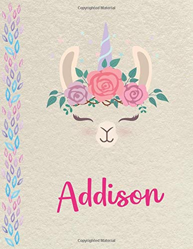 Addison: Personalized Llama SketchBook for girls, great gifts for kids. Large sketch book with pink Name for drawing, sketching, Doodling or learning to draw (sketch books for kids 8.5x11 110 pages )