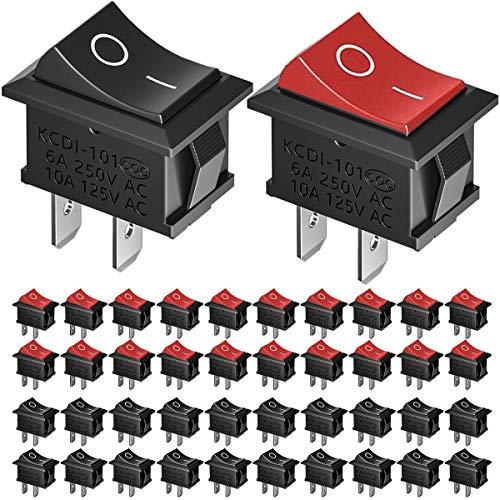 Mengger interruptor de boton on off 40Pcs interruptor basculante 2 posiciones 16A 250V encendido Conmutador palanca para Coche Barco Camión Remolque