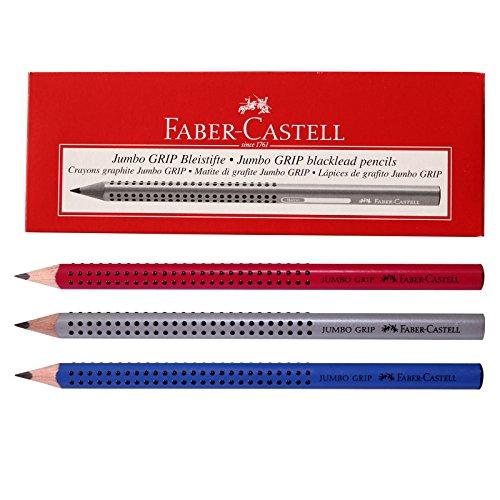 Faber Castell Jumbo Grip Graphite Pencils Silver,blue,blackberry (Pack of 12)