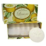 Limonenseife rund 6 stk a 50 g, handgemachte italienische Seife aus Fiorentino, mit dekorativer...