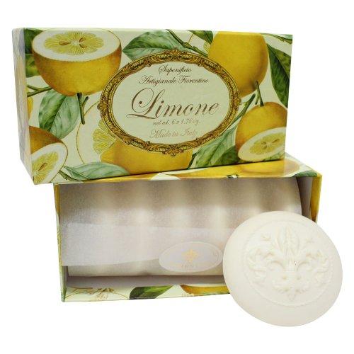 Jabón de limón, redonda 6 St 50 g, italiano hecho a mano de Fiorentino