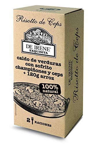 De Irene Paellas y Fideuas, Plato envasado de Risotto de Ceps, Arroz y verduras - 6 unidades, 12 Raciones, Total 3540 gr.