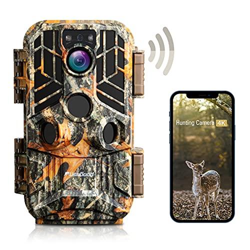 usogood Wildkamera WLAN 4k 30MP mit Bluetooth APP, Wildtierkamera mit Bewegungsmelder Nachtsicht Handyübertragung, Zeitraffer, 60°~120° Einstellbarer Weitwinkel, IP66 Wasserdicht