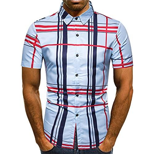 Polo Hombre Estampado Moda Verano Hombre Camisa Cuello Kent Transpirable Botones Ajustados Tapeta Elástica...