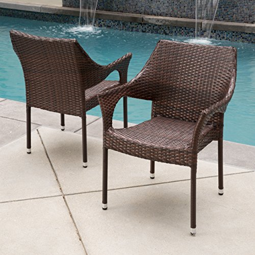 Christopher Knight Home Cliff Outdoor Wicker Chairs, 2-Pcs Set, Multibrown