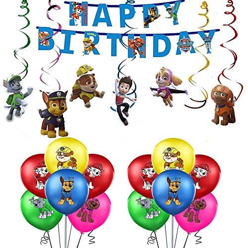 rosepartyh Paw Patrol Geburtstag Dekoration Set Paw Patrol Hund Kindergeburtstag Deko Enthält Latexballons Alles Gute zum Geburtstag Banner Hängen Wirbel Dekorationen