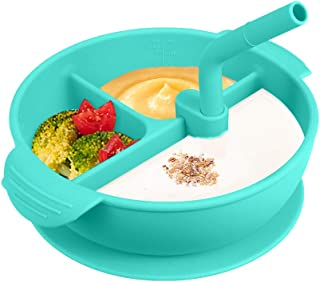 Ikayaa One-piece Silicone Placemat with Cover and Straw BPA-Free Heat-resistant Baby Food Plate Mat with 3 Separated Place...
