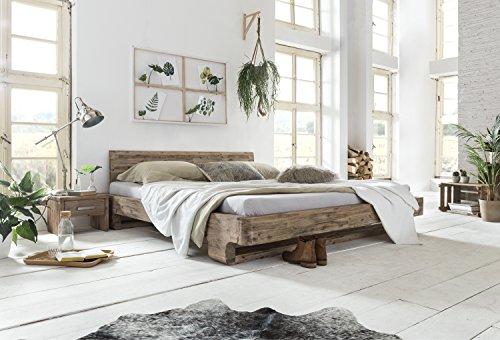 Woodkings® Holzbett 180x200 Mayfield Holz rustikal Schlafzimmer Möbel massiv Design Doppelbett Ehebett Balkenbett Echtholzmöbel (Akazie gebürstet)