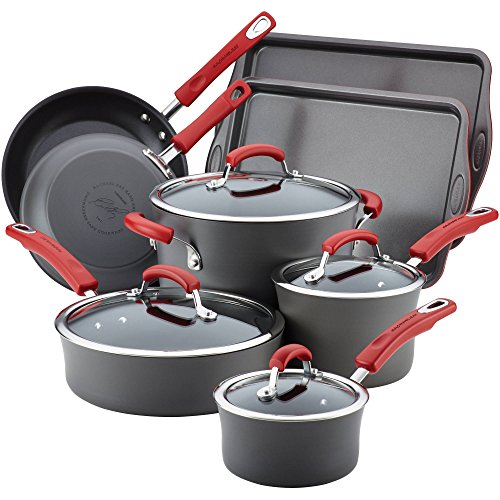 Rachael Ray 87648 Hard Anodized Nonstick Cookware Set/Pots and Pans Set - 12 Piece, Gray