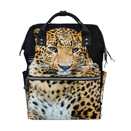 COOSUN luipaard luipaard luiertas luier rugzak met geïsoleerde zakken kinderwagen banden, grote capaciteit multifunctionele stijlvolle luiertas voor mama pa outdoor