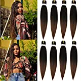 Pre-stretched Braiding Hair Extension Ombre Natural Black Brown Professional Fiber Jumbo Braids Hair 26 Inch 8Packs Hot Water Setting Perm Soft Yaki Texture Synthetic Expression Braiding Hair (1B/30)