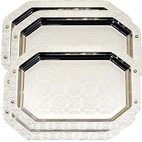 Maro Megastore (Pack of 4) 14.6-Inch x 10.6-Inch Octagonal Chrome Plated Serving Tray Edge Floor Brick Engraved Decorative Holiday Wedding Birthday Dessert Snack Wine Candle Platter Plate 209 TS-240