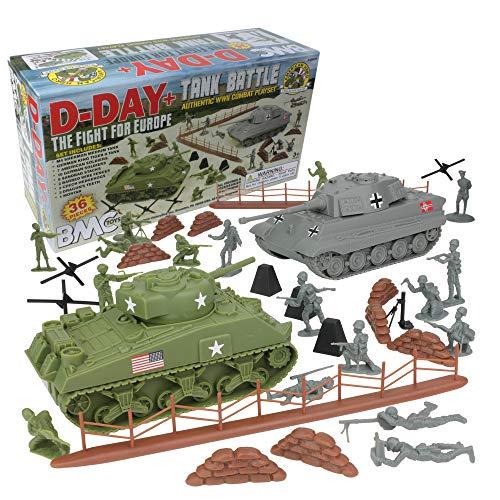 BMC WW2 D-Day Tank Battle - 36pc Plastic Army Men Playset