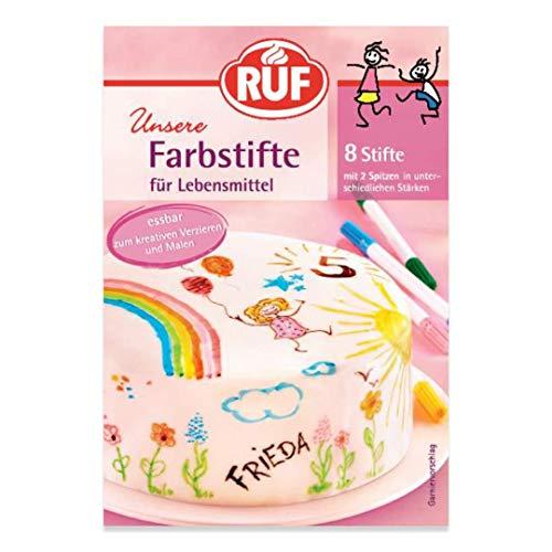 RUF Lebensmittel-Farbstifte, 8 lebensmittelechte Speisefarben als Stifte-Set zum Malen & Schreiben auf Fondant & Co., Zucker-Stifte mit je 2 Spitzen