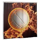 Cortina de baño, Balon De Voleibol con Fuego PNG Set de Cortinas de baño con Ganchos