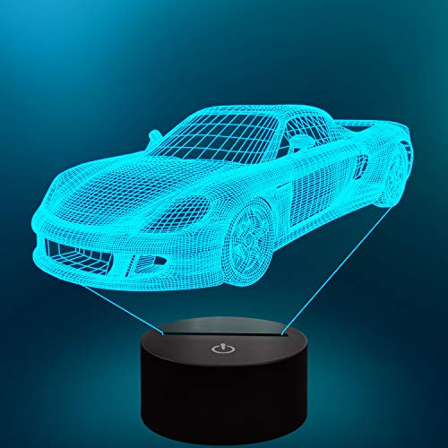Lampeez 3D Car Lamp Night Light 3D Illusion lamp for Kids,16 Colors Changing with Remote,Dimmable Kids Bedroom Decor as Xmas Holiday Birthday Car Gifts for Boys Girls Nursery Decor Lighting