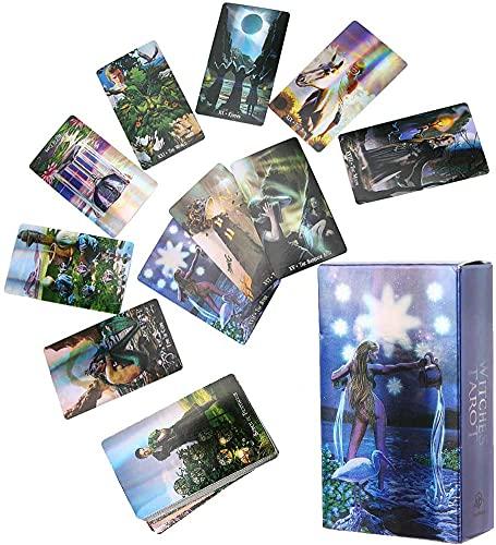 CHENJIEUS Baraja De Cartas De Tarot De Brujas Juego De Futuro con Estuche Colorido Papel De Holograma Carta De Adivinación En Inglés Baraja De Tarot DesconocidaInteractive Board Game