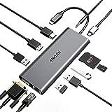 ENKLEN USB C Hub 12 in 1 mit DP 4K, Thunderbolt 3 5K@60Hz 100W PD, 2 USB 3.1, HDMI 4K, SD/Micro SD Kartenleser, Gigabit Ethernet, VGA für MacBook Pro,Chromebook und Mehr Typ C Geräte