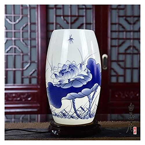 lámpara de mesita Lámpara de mesa de cerámica con base de madera para sala de estar Sala de estudio Habitación Luz de noche Lámparas de porcelana pintadas E27 Luz Nocturna ( Lampshade Color : 01 )