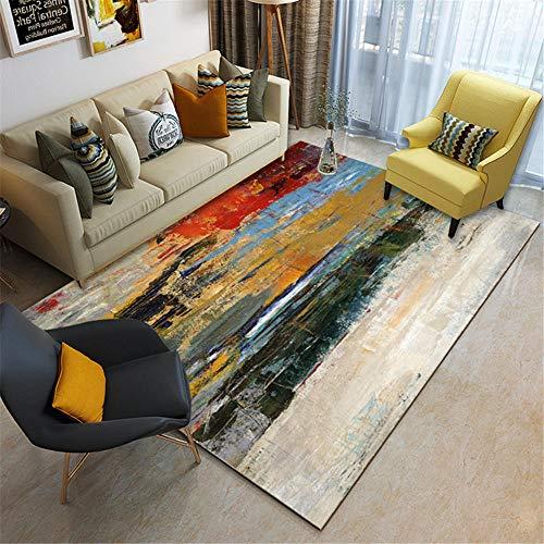 RUGMYW Suelo Laminado alfombras de habitacion Beige Verde Naranja Gris Amarillo Azul Rojo Elementos Abstractos Alfombra pie de Cama 180X250cm