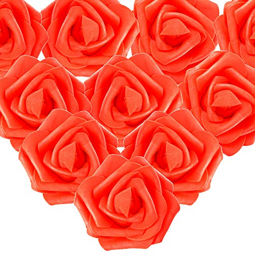 MEJOSER 50er Schaumrosen Künstliche Blumen Rosenköpfe Rosenblüten Foamrosen Brautstrauß DIY Party Hause Hochzeit Deko (Rot)