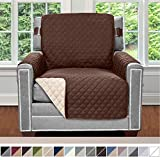 Sofa Shield Original Patent Pending Reversible Chair Protector for Seat Width up to 23 Inch, Furniture Slipcover, 2 Inch Strap, Chairs Slip Cover Throw for Pets, Dogs, Cats, Armchair, Chocolate Beige