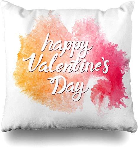 Couvre-oreiller assorties aquarelle éclaboussures blanches Pack Saint Valentin Assortiment Clip Draw Home Decor housse de coussin taie d'oreiller carrée,45X45Cm