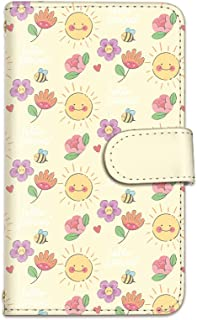 [bodenbaum] isai vivid LGV32 手帳型 スマホケース カード スマホ ケース カバー ケータイ 携帯 LG エルジー イサイ ビビッド au 花柄 太陽 スマイル かわいい f-357 (A.イエロー)