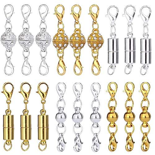 Cierre de Langosta Magnético, 12 Piezas Broches de Langosta de Estilo de Bola de Diamantes de Imitación para Fabricación de Bisutería Collar Pulsera