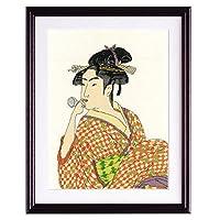 オリムパス製絲 クロスステッチ 刺しゅうキット 日本の美 名作選 ポペンを吹く娘 喜多川歌麿作 ベージュ 7185