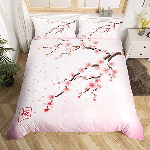 Erosebridal Bettwäsche-Set mit Kirschblütenmotiv, japanischer Stil, romantisches Design, rosa Bettdeckenbezug, Bettbezug mit Reißverschluss, für Damen, Mädchen, weiche Tagesdecke, Queen-Size-Größe