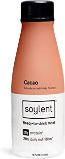 Cacao Soylent Meal Replacement Shake, Cacao, Complete Meal in a Bottle, 20g Plant Protein, 14 oz Bottles, 12 Pack