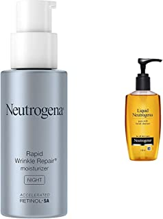 Neutrogena Rapid Wrinkle Repair Night Moisturizer For Face With Retinol, 29ml & Neutrogena Liquid Mild Facial Cleanser, 150ml