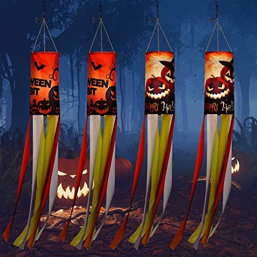 WILLBOND 4 Stück 101,6 cm Halloween Kürbis Geist Windsack Flagge Outdoor hängende Dekoration Großer Halloween Thema Garten Windsack für Vorgarten Terrasse Rasen Party Dekor, 2 Stile