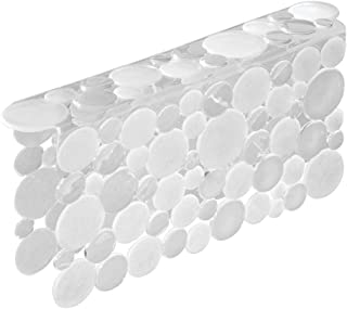 mDesign Decorative Plastic Kitchen Sink Saddle - Divided Sink Protector Mat, Place Over Middle Section - Quick Draining, Fun Bubble Design - Clear