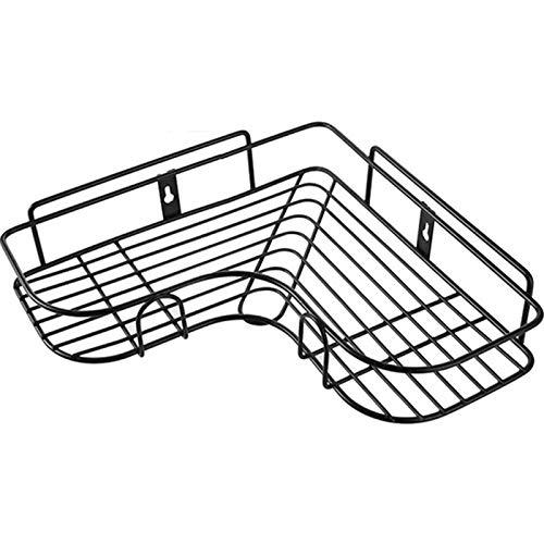 AFKK Baño Estante, con Ganchos Autoadhesivos Hierro Sin Perforación Cesta De Almacenamiento Montada En La Pared para Baño Cocina Aseo,Negro