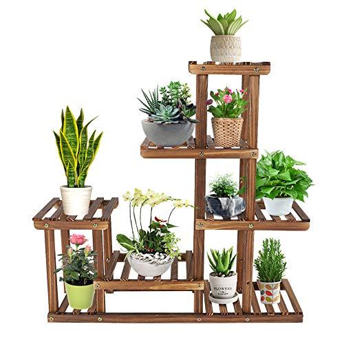 Estante para flores de madera de varios niveles, soporte para flores de 5 niveles, escalera para plantas para balcón interior, sala de estar, decoración de jardín al aire libre, estante para plantas 7