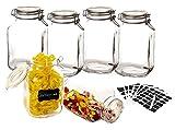 BigDean 6X Bormioli Fido Einmachgläser 3 Liter groß mit Bügelverschluss-Deckel - inkl. 102 Etiketten + 1 Stift - 100% Luftdicht - Rumtopf Glas-Gefäß XXL Vorratsgläser Set Glasbehälter Drahtbügelglas