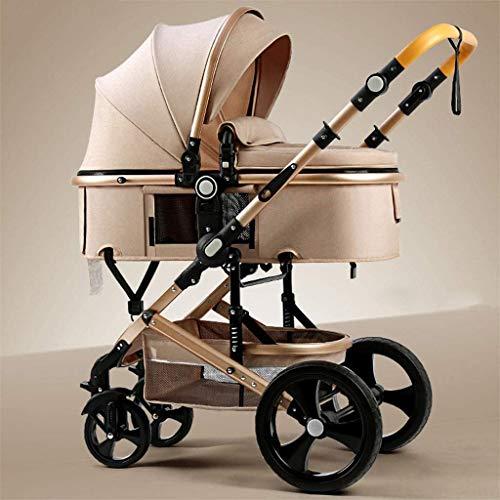 Cochecitos para niños pequeños, sistema de viaje ligero para bebé bebé, cochecitos y sillas de nacimiento, cochecito de bebé portátil (Color : Brown)