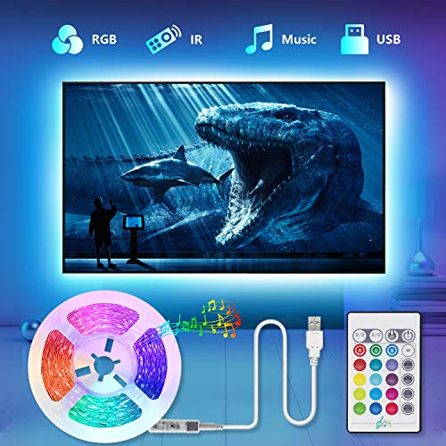 USB Striscia LED TV, TASMOR 2M 5050 LED Retroilluminazione TV Striscia RGB Multicolor 16 Colori e 4 Modalità, Luci Led Ambilight Kit TV per HDTV da 40-60 Pollici PC Monitor e Camera da Letto 5V 2A