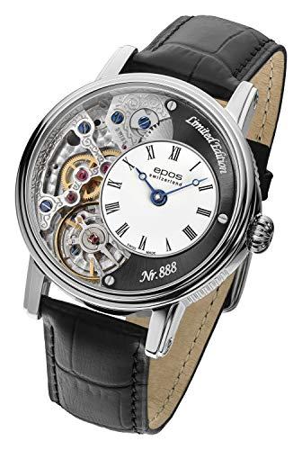 EPOS Herren-Armbanduhr Analog Mechanik Leder schwarz - 411120