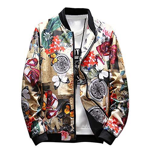 FONMA Men's Winter Stand Collar Retro Printed Zipper Jacket Coat Outwear...